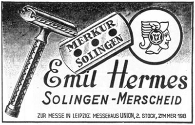 Merkur Emil Hermes постер на Т образный бритвенный станок Меркур