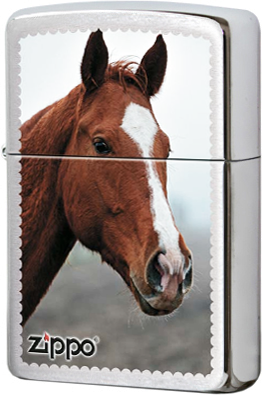 200 Horse Head Зажигалка Zippo, Brushed Chrome