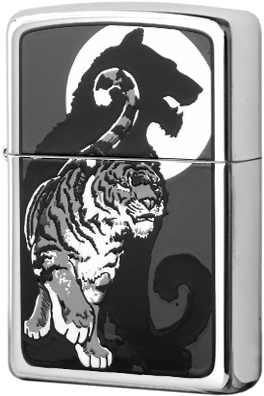 21163 Зажигалка Zippo Tiger With Shadow, Polish Chrome