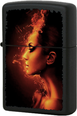 218 Burning Woman Зажигалка Zippo, Black Matte