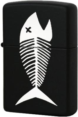 218 Fish Bones Зажигалка Zippo Скелет рыбы, Black Matte