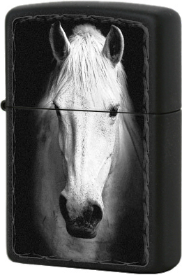 218 White Horse Зажигалка Zippo, Black Matte