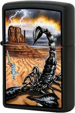218 Mazzi Scorpion Зажигалка Zippo, Black Matte
