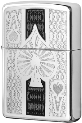 24196 Зажигалка Zippo Ace Engraved, Polish Chrome