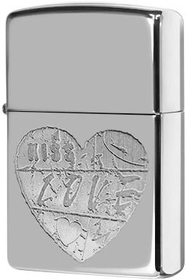 24198 Зажигалка Zippo For The Love, Polish Chrome
