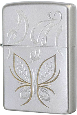 24339 Зажигалка Zippo Golden Butterfly, Satin Chrome