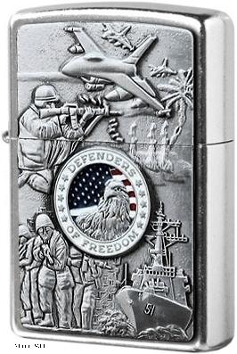 24457 Зажигалка Zippo Military Emblem, Street Chrome