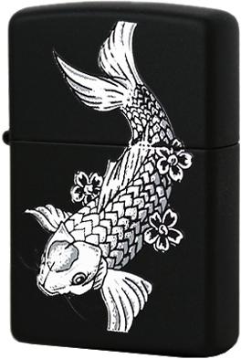 24713 Зажигалка Zippo Fanciful Fish, Black Matte