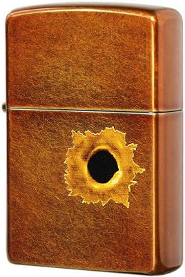 24717 Зажигалка Zippo Bullet Hole, Toffee Finish