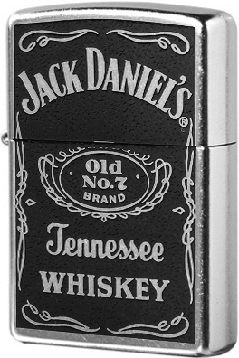 24779 Зажигалка Zippo Jack Daniels Old No.7 Label, Street Chrome