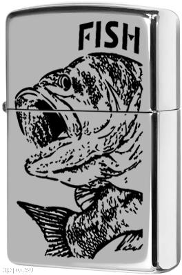 250 Fish Big Mouth Зажигалка Zippo, Чёрный окунь, Polish Chrome