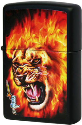 28003 Зажигалка Zippo Mazzi Flame Lion, Black Matte