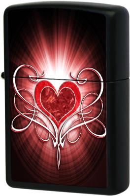 28043 Зажигалка Zippo Heart, Black Matte