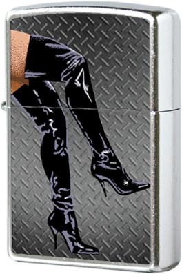 28055 Зажигалка Zippo Legs in Boots, Street Chrome