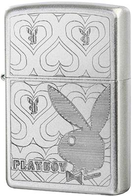28077 Зажигалка Zippo Playboy Hearts, Satin Chrome