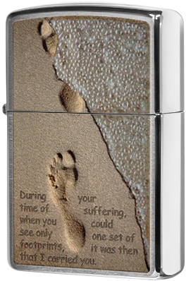 28180 Зажигалка Zippo Footprint, Brushed Chrome
