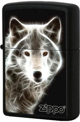 28303 Зажигалка Zippo White Wolf, Black Matte