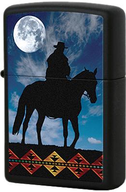 28311 Зажигалка Zippo Cowboy Moon, Black Matte