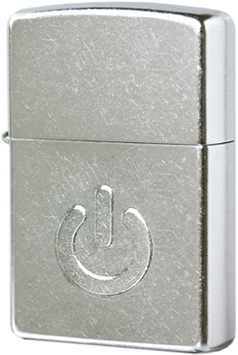 28329 Зажигалка Zippo Power Button, Street Chrome