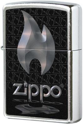 28445 Зажигалка Zippo Logo Flame, Street Chrome