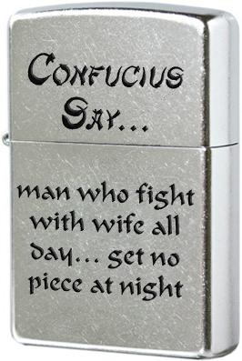 28460 Зажигалка Zippo Confucius Say Wife Night, Street Chrome