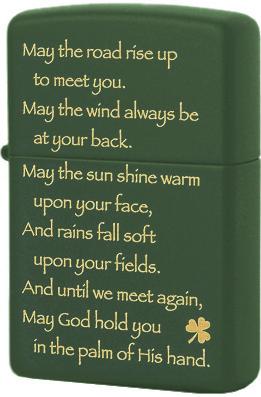 28479 Зажигалка Zippo Irish Blessing, Green Matte