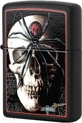 28627 Зажигалка Zippo Mazzi Skull Spider, Black Matte