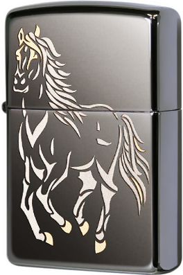 28645 Зажигалка Zippo Running Horse Black Ice, Polish Finish