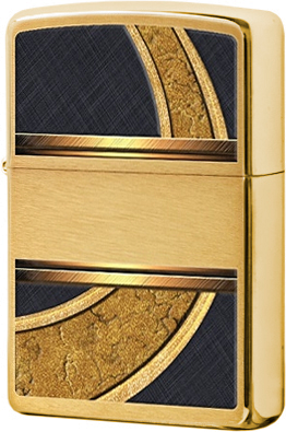 28673 Зажигалка Zippo Gold and Black, Brushed Brass