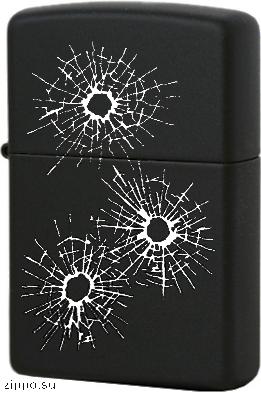 28712 Зажигалка Zippo Bullet Holes, Black Matte