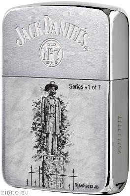 28736 Зажигалка Zippo 1941 Replica Statue of Jack Daniel, Brush Chrome