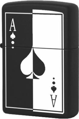 28945 Зажигалка Zippo Ace of Spades, Black Matte