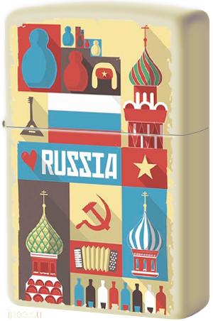 216 Russian Postcard Зажигалка Zippo Открытка из России, Cream Matte