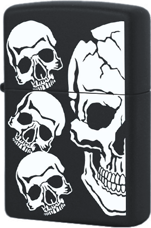 218 Зажигалка Zippo Skull, Black Matte