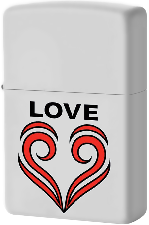 29193 Зажигалка Zippo Love Theme, White Matte