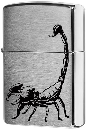 29204 Зажигалка Zippo Scorpion, Brushed Chrome
