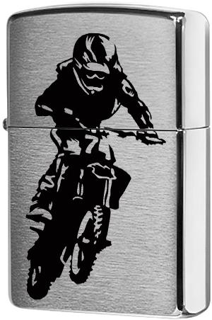 29207 Зажигалка Zippo Motorcross Rider, Brushed Chrome