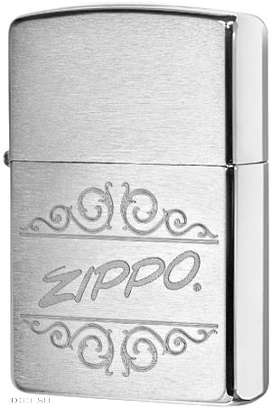 29209 Зажигалка Zippo Ornate Logo, Brushed Chrome