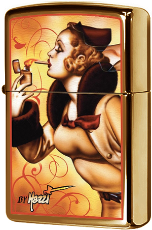 24745 Зажигалка Zippo Mazzi Windy Girl, Harvest Bronze