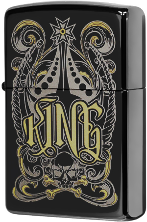 28798 Зажигалка Zippo Fit for a King, Black Ice