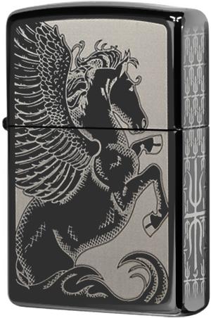 28802 Зажигалка Zippo Pegasus Graces, Black Ice