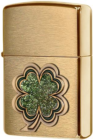 28806 Зажигалка Zippo Shamrock, Brushed Brass