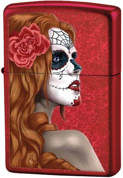 28830 Зажигалка Zippo Day of Dead Girl, Candy Apple Red