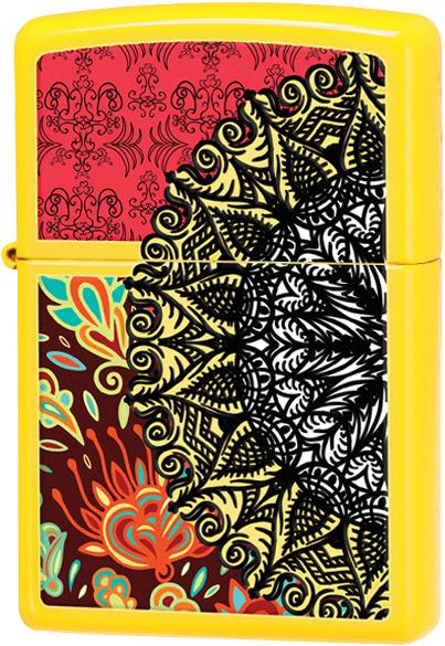 28850 Зажигалка Zippo Boho 3 Desig, Neon Yellow