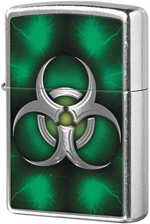 28853 Зажигалка Zippo Biohazard Symbol Green, Street Chrome