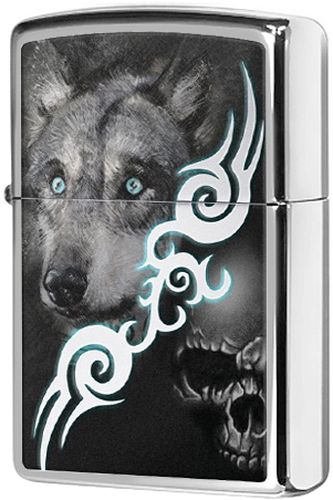 28872 Зажигалка Zippo Wolf With Skull, Polish Chrome