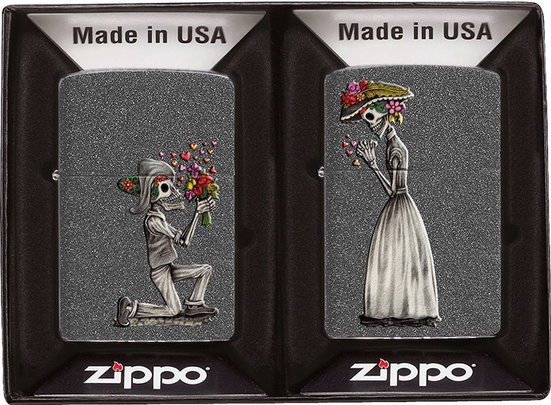 28987 Зажигалка Zippo Day of Dead Skulls Set, Iron Stone