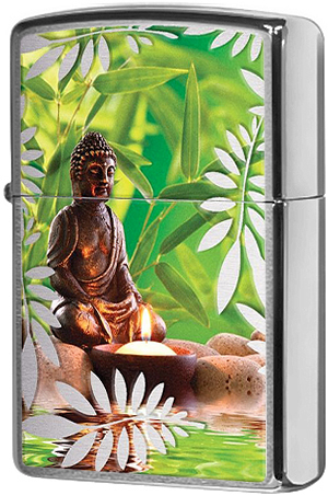29058 Зажигалка Zippo Garden Buddha, Polish Chrome