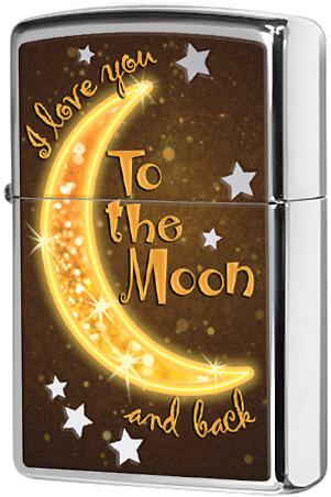 29059 Зажигалка Zippo Golden Moon, Polish Chrome