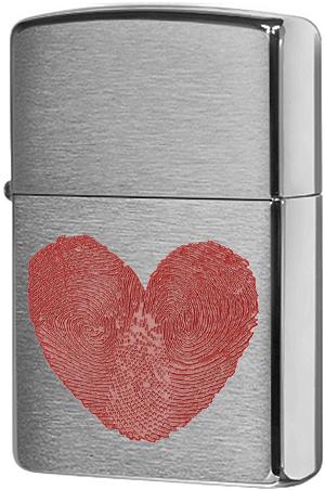 29068 Зажигалка Zippo Love Fingerprint, Brushed Chrome